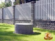 Заборы. Установка декоративного забора из бетонных заборных блоков.