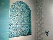 Облицовка стен мозаикой декоративным камнем,  кафелем
